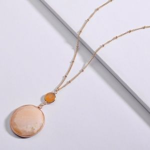 Anthropologie Stone Pendant Necklace Long